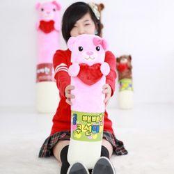 하트 곰막대과자 쿠션(대)핑크