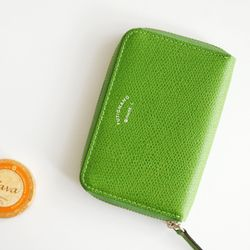 Zipper card pouch - leather (orange)