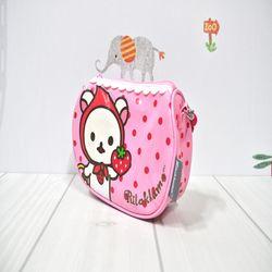 코리락쿠마 딸기 도트 손가방 (핑크)