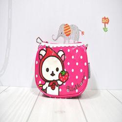 코리락쿠마 딸기 도트 손가방 (핫핑크)
