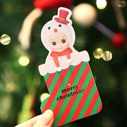 Christmas stocking card - snowman