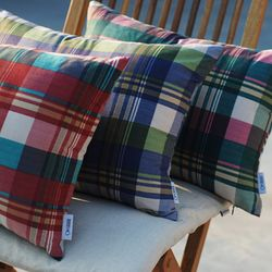 madras check cushion - cover