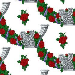 패턴벽지 장미와 백마