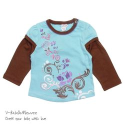 H-24303 Floral 셔링 레이어드 티셔츠 Blue
