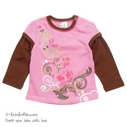 H-24303 Floral 셔링 레이어드 티셔츠 Pink