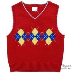 H-20072 니트 조끼 스웨터 Red