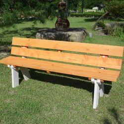 [파파나무]천연원목 1800등받이형 벤치의자(3인도색)