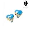 Saatchi Gallery Paint Heart Earring Studs_Gold / Blue