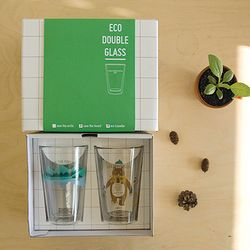 ECO DOUBLE WALL GLASS gift set - forest