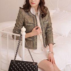 [AKA WOMAN]pearl gold trimming jacket