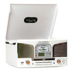 클래식68E 턴테이블 라디오+CD+USB-화이트