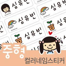 컬러네임스티커 (양갈래딸기소녀) 중형96개