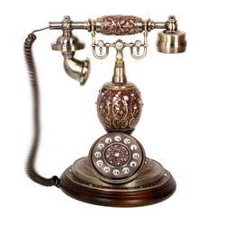볼기둥 주물 엔틱 전화기 (브라운)