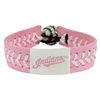 Cleveland Indians Pink Leather Baseball Bracelet