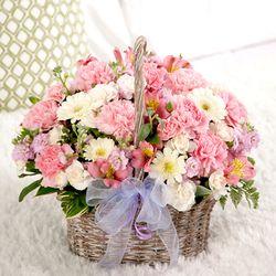 [전국꽃배달 더플라워샵]FN1138 생화카네이션꽃바구니(로맨틱카네이션)
