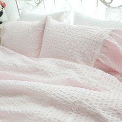 [ParadiseHome] 그레이스 쉐비핑크 라미리플 홑이불세트[퀸]