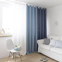 모던 하우스 커튼(화이트+블루+네이비) - 핀스타일