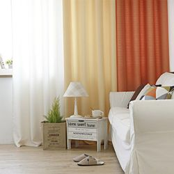 모던 하우스 커튼(아이보리+옐로우+오렌지) - 아일렛스타일