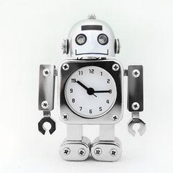 무소음 메탈로봇 알람 탁상시계-CHROME