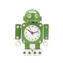 무소음 메탈로봇 알람 탁상시계-GREEN