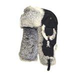 SKULL BOMBER black w Grey Fur