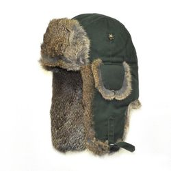 WAXED BOMBER moss green w Brown Fur
