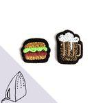 [Macon&Lesquoy] 마콩 자수패치_햄버거와 맥주
