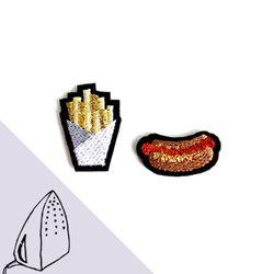 [Macon&Lesquoy] 마콩 자수패치_핫도그와 칩스