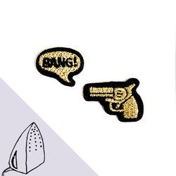 [Macon&Lesquoy] 마콩 자수패치_총과 BANG!(골드)