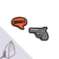 [Macon&Lesquoy] 마콩 자수패치_총과 BANG!(실버)