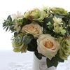 그린오렌지투톤 로즈부쉬-꽃다발