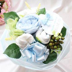 리틀엔젤 블루 미디엄 아기옷부케(배넷저고리+턱받이+손싸개+발싸개+미니타올)