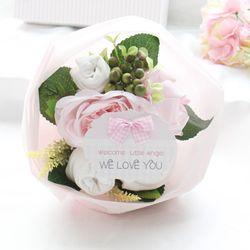 리틀엔젤 핑크 스몰 아기옷부케(배넷저고리+손싸개+발싸개+미니타올)