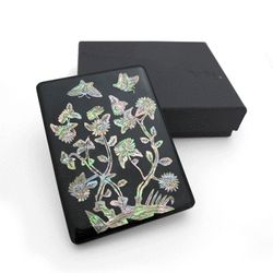 꽃담문 자개 손거울 (흑)