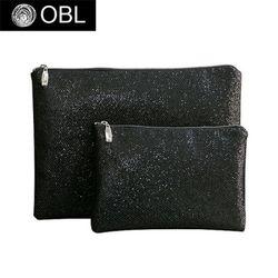 OBL glittering black clutch bag-글리터링 블랙 클러치백(L)