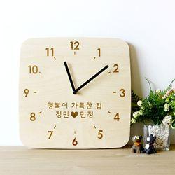 자작나무 이니셜 우드벽시계 네모
