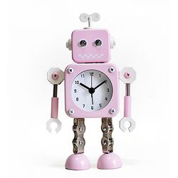 NEW 파스텔 무소음 메탈로봇 알람시계-PINK
