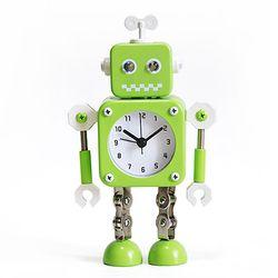 NEW 파스텔 무소음 메탈로봇 알람시계-GREEN