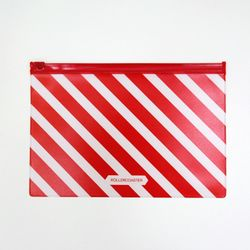 Pattern Cleat Pouch-Red Stripe