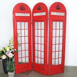 빈티지 P. 런던 전화박스 3단 파티션