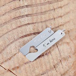 [합치면 하트가 되는 각인 목걸이] silver 러브 스틱 커플 목걸이