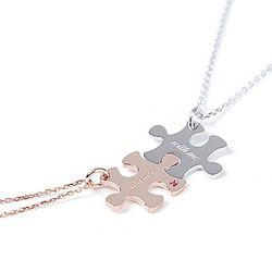 [커플&우정목걸이 추천] silver 메세지 퍼즐 목걸이