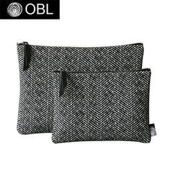 OBL 헤링본 블랙 클러치백(M)