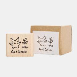 Snowcat WOOD STAMP-GO GREEN