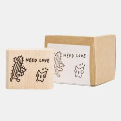 Snowcat WOOD STAMP-NEED LOVE