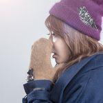 [Smart Phone]Re girl Angora Gloves Camel