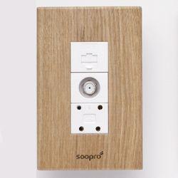 SOOPRO 나무콘센트(애쉬) 조합3구(CATV+모듈라+전화)