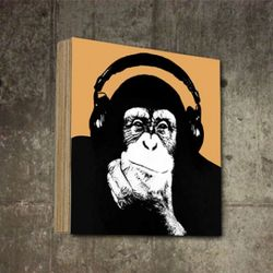 팝아트액자 빈티지 소품 헤드폰 몽키 그림 SQ-415