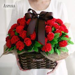 아스파시아 50송이 카네이션 바구니-비누꽃