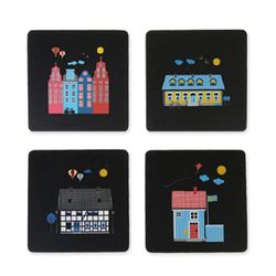 Houses of Sweden 컵받침 블랙 (4pcs)
